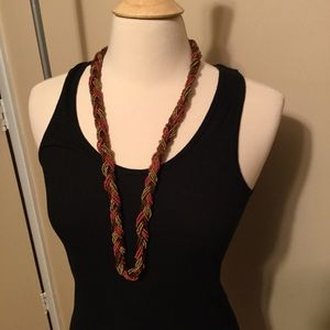 Multi Color Braided Bead Necklace